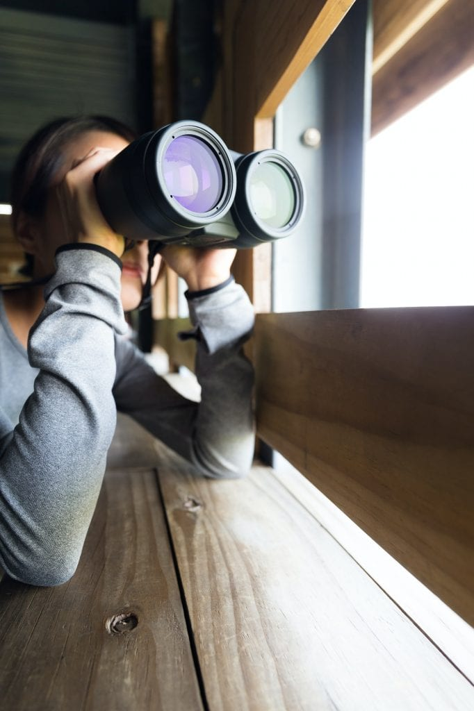 Woman looking though binoculars at wooden house